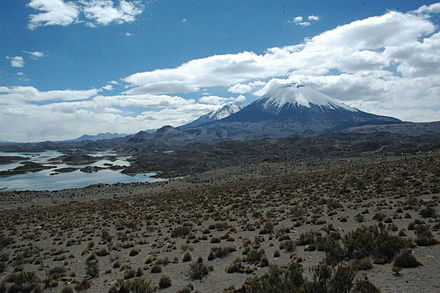 View on the sector collapse deposit. In the background Pomerape, on the left the Cotacotani lakes Volcan Parinacota + CotaCotani lakes.jpg