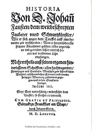 Johann Georg Faust - Title page of a 1588 edition of the Faustbuch.