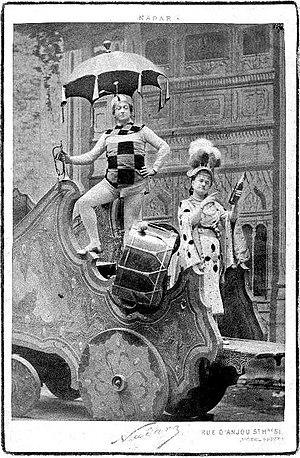 Le voyage dans la lune (operetta) - Christian (Vlan) and Zulma Bouffar (Prince Caprice) in Le voyage dans la Lune, in the charlatans scene.