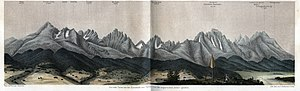 Mountain range - An 1865 lithograph showing the High Tatras mountain range in Slovakia and Poland by Karel Kořistka appearing in a book by August Heinrich Petermann.