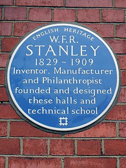 W.f.r. stanley blue plaque at stanley halls 12 south norwood hill