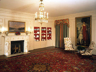 China Room - The China Room looking southeast during the administration of Bill Clinton. At right is a painting of Grace Coolidge.