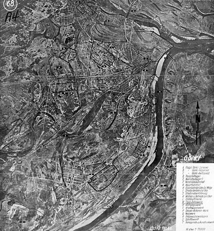 German map of Gorky, indicating targets for bombing Translation of labels on the map A -- Gorky-Sormovo Airfield B -- Gorky-Fedyakovo Airfield S -- Gorky-Avtozavod Airfield D -- Fuel warehouse E -- Grocery warehouse F -- Railway platform G -- Main Railway Station H -- The railway bridge across the Volga I -- Oksky (Kanavinsky) Bridge J -- Overpass K -- Mills and barns L -- Oil Refinery M -- Aircraft Building Plant N -- Defense Plant O -- Automobile Plant P -- Diesel Plant Q -- Rolling workshop R -- Machine-Tool Plant S -- Shipyard T -- Radiotelephone Plant The Fair WWII German map (Gorky).jpg