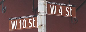 4th Street (Manhattan) - Newer lowercase street sign at West 4th Street and West 10th Street