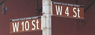 Greenwich Village - Street signs at intersection of West 10th and West 4th Streets