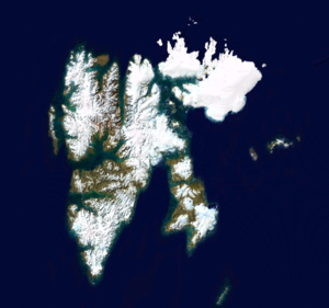 Outline of Svalbard - An enlargeable satellite image of Svalbard