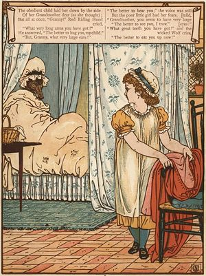 "Little Red Riding Hood - ""The better to see you with"": woodcut by Walter Crane"