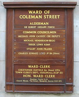 Wards of the City of London - A wooden notice board (each ward has at least one) displaying the Alderman, the Common Councilmen (one of whom is the Alderman's Deputy), and the clerks of that ward.