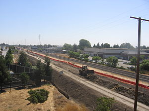 Silicon Valley BART extension - Construction on the Warm Springs extension underway in Fremont, September 12, 2012