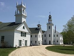 Washington Congregational Church, Center School, and Town Hall (from left)