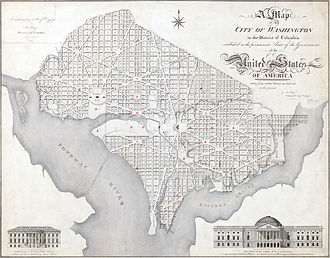Constitution Avenue - 1818 map of Washington, D.C., showing Tiber Creek