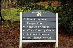 Washington Park (Portland, Oregon) - Washington Park wayfinding sign