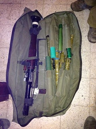 Hamas anti-tank rockets, captured by Israel Defense Forces during Operation Protective Edge Weapons Found in Shuja'iya, Gaza (14552909800).jpg