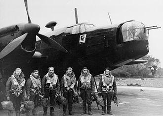No. 214 Squadron RAF - Crew of a Wellington II of 214 Squadron at RAF Stradishall before a raid on Essen.
