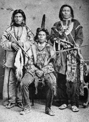 White Fox (center) with Red Fox and White Eagle, Nebraska 1874.jpg