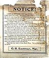"""White paper sign with ornate black border, black print; """"NOTICE!"""" in box below top border; """"G. H. Eastman, Mgr."""" in box above (4f7e712c-2f4a-4529-9059-c9e458e86e41).jpg"""