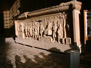 Plutei of Trajan carved stone balustrades built for Trajan, currently on display inside the Curia Juli