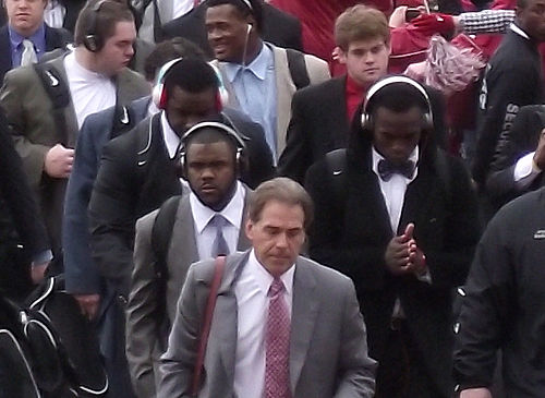 "Saban leads the ""Walk of Champions"" prior to the Iron Bowl WoC 2010-11-26 Saban.jpg"