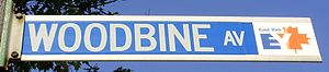 Woodbine Avenue - Image: Woodbine Ave Street Sign