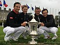 World Amateur Team Championship (Eisenhower Trophy) 2018 Ireland winning team Denmark with the Trophy. John Axelsen, Rasmus & Nicolai Højgard, Captain Torben Nyehus.jpg