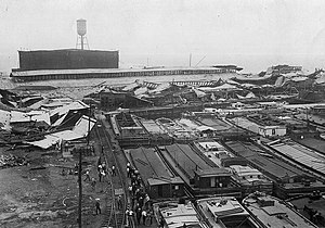Black Tom explosion - Wrecked warehouses and scattered debris after explosion