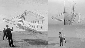 Lift-to-drag ratio - The Wright brothers testing their gliders in 1901 (left) and 1902 (right). The angle of the tether reflects the dramatic improvement in the lift-to-drag ratio