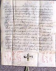 Certificate Vlad III.  Drăculea with mention of Bucharest