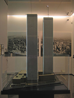 Construction of the World Trade Center - Original architectural and engineering model. This model is now on permanent  display at the National September 11th. Memorial and Museum in NYC.