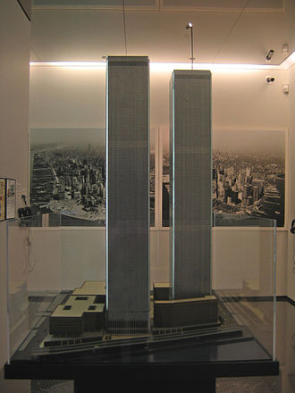 Construction of the World Trade Center - Original architectural and engineering model. This model is now on permanent display at the National September 11 Memorial and Museum
