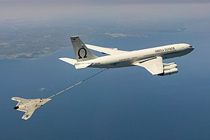 Omega Aerial Refueling Services - One of Omega Air's Boeing 707s refuelling a Northrop Grumman X-47B in April 2015