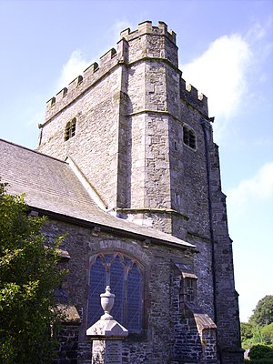 Llantrisant - The 15th century tower of The Church of the Three Saints, Llantrisant
