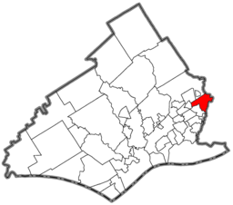 Location of Yeadon in Delaware County