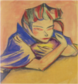 YorozuTetsugorō-1912-1913-A Woman Folding Arms.png