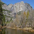 Yosemite Falls in late November from the Merced River.JPG