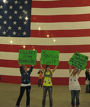 Hillary Clinton presidential campaign, 2008 - Some of Clinton's Gen Y (millennial) female supporters at a campaign rally. South Hall, San Jose, California, February 1, 2008