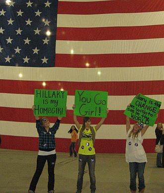 Hillary Clinton 2008 presidential campaign - Some of Clinton's Gen Y (millennial) female supporters at a campaign rally. South Hall, San Jose, California, February 1, 2008