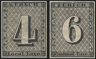Postage stamps and postal history of Switzerland - Monochrome image of the Zürich 4 and 6