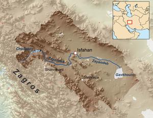 Gavkhouni - Map of the Zayandeh/Gavkhouni drainage basin