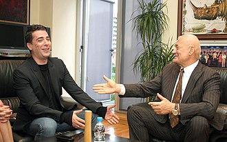 Aleksandar Tijanić - Tijanić, the RTS general-director, meeting with pop star Željko Joksimović in 2012.