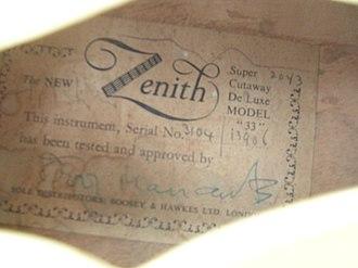 Ivor Mairants - Zenith Guitar label detail