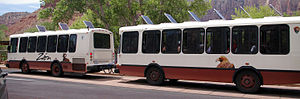 Trailer bus - A shuttle bus service consisting of a trailer bus being pulled by a conventional bus at Zion National Park. It remains as one of the few examples of trailer buses still being used in service today