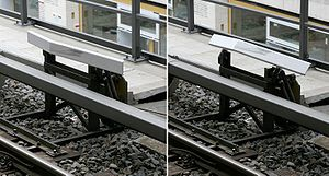 Automatic Warning System - Berlin S-Bahn train stop in its engaged (left) and disengaged (right) position