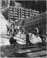 """A cleanup crew removing all particles of broken rock on dam foundation."" - NARA - 294337.tif"