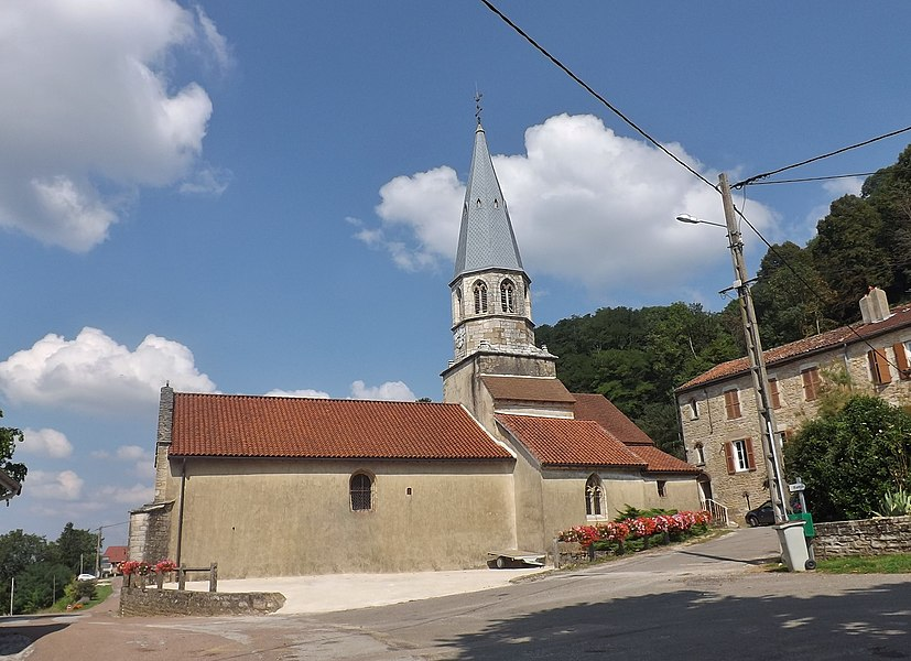 Sight of the église Saint-Jean-Baptiste church, in Saint-Jean-d'Étreux, Jura, France.