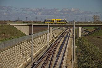 Erfurt–Leipzig/Halle high-speed railway - Passing under the Merseburg-Schafstädt railway at the Dörstewitz overtaking facility