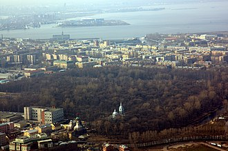 Smolensky Cemetery - Aerial view of the cemetery, with the Neva Bay in the background