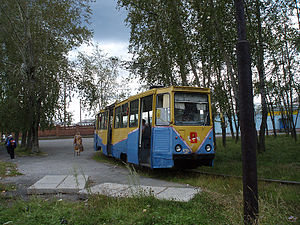 Trams in Volchansk - A yellow-blue KTM-5 tram