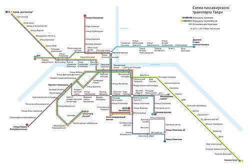 Схема тверских трамваев и