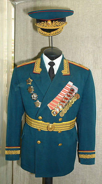 Marshal of the branch -  Uniform of marshal of the artillery Grigoriy Fedorovich Odinzov (1900—1972) Military historical museum, St. Petersburg