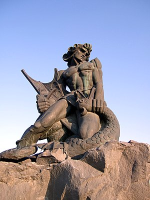 European dragon - Statue of the Armenian god Vahagn the Dragon Slayer choking a dragon in Yerevan, Armenia